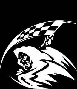 Amazon.com: Grim Reaper Racing Flag Vinyl Car Decal: Arts ...