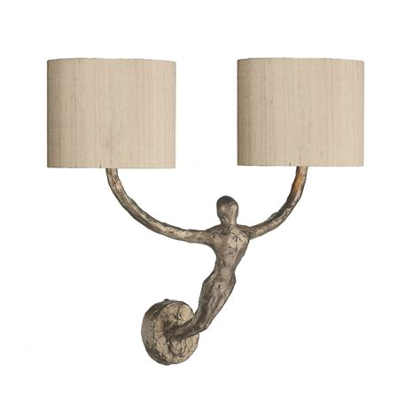 bronze figurine double wall light with taupe silk shades