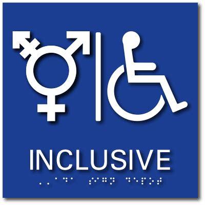 Gender Inclusive Bathroom Sign by Inclusive Symbol Wheelchair Accessible Bathroom Ada Signs