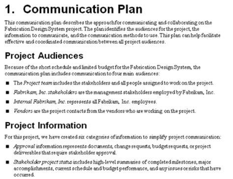 project communication plan mpug