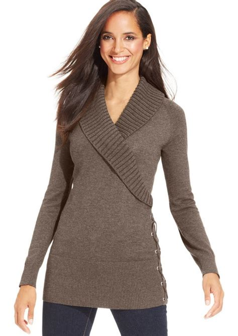 style and co sweaters style co style co shawl collar lace up tunic