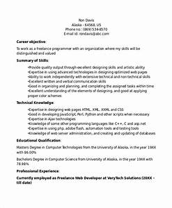 Programmer Resume Sample 8 Sample Freelance Resume Templates In Pdf Ms Word