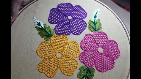 hand embroidery designs net stitch design  cushion