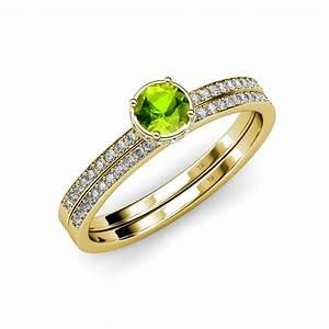 peridot and diamond haloengagement ring wedding band set With peridot wedding ring set