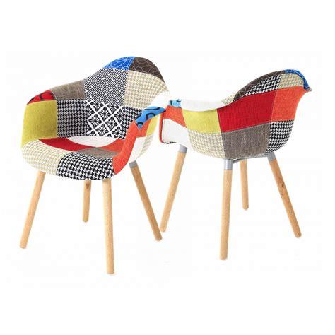 chaise multicolore 2x fauteuil design multicolore patchwork chalet