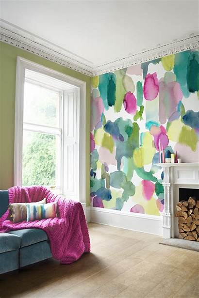 Colorful Living Bedroom Bold Watercolor Bluebellgray Rooms