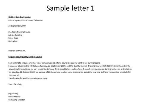 inquiry letter  hotel accommodation
