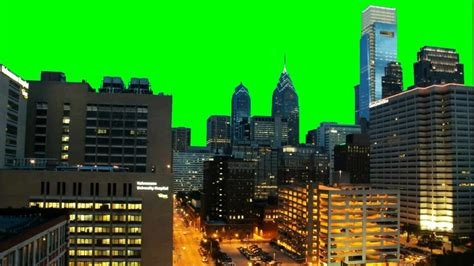 Real City (philadelphia) Time Lapse 1080p  Green Screen