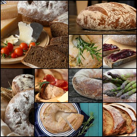 Country Style Wholemeal Rye Bread Loaf Set Collage Stock