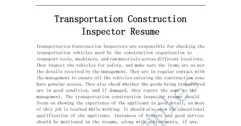 Objective For Construction Inspector Resume by Resume Sles Transportation Construction Inspector Resume