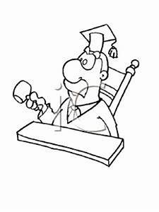 A Black and White Cartoon of a Judge with a Gavel ...