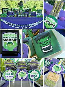 Diy incredible quotgreen monsterquot hulk superhero birthday for These diy party decorations are incredible