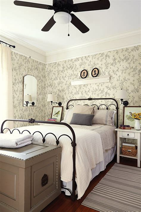 Cottage Style Wallpaper by Farmhouse Cottage Style Bedroom With Wallpaper Iron Bed