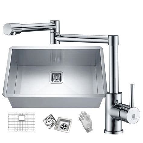 Stainless Steel Kitchen Sinks And Faucets by Anzzi Vanguard Undermount Stainless Steel 30 In Single