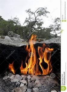 Fire on Mount Chimera stock photo. Image of kemer ...