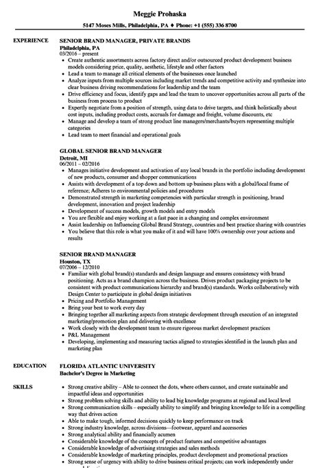 Brand Manager Resume by Senior Brand Manager Resume Sles Velvet