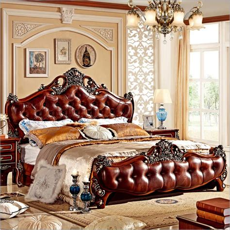 modern european solid wood bed fashion carved leather bedroom furniture 10000 in beds