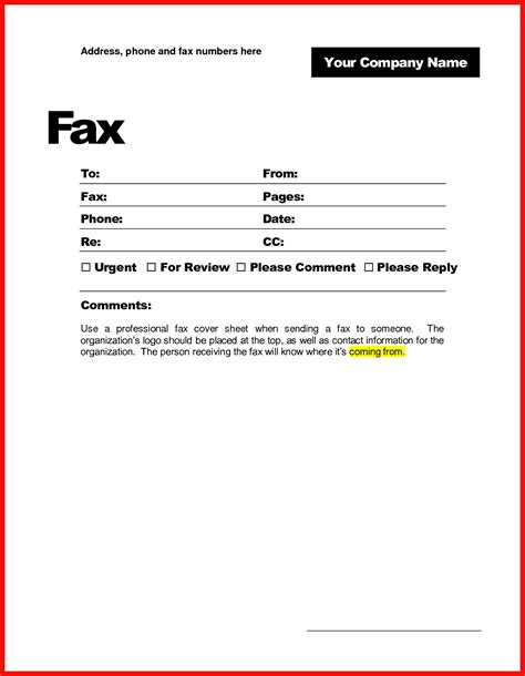 Sample Simple Fax Cover Page Templates