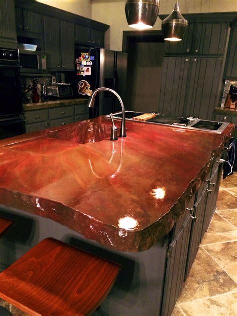concrete island concrete countertops   kitchen
