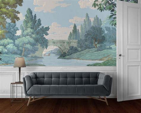 french landscape antique block printed scenic wallpaper