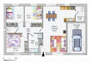 maison a moins de 90000 euros detail du plan de maison With delightful plan maison en pente 2 exemples de plans de maisons en corse
