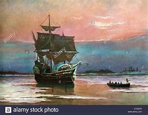 PAINTING OF THE SHIP THE MAYFLOWER 1620 IN PLYMOUTH HARBOR ...