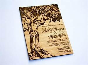 sale 25 wooden wedding invitation oak tree real wood With wedding invitation tree wood laser cut