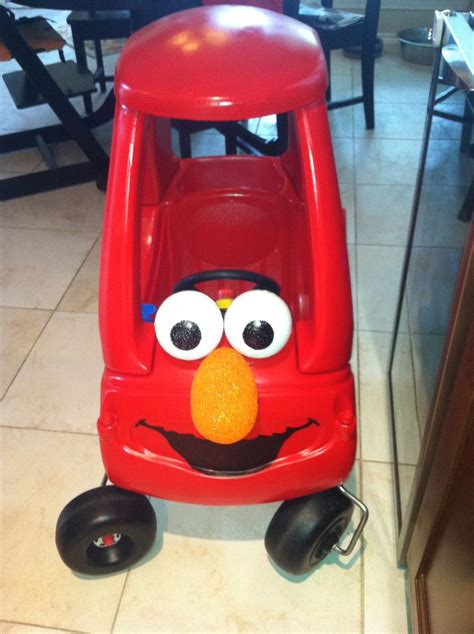 elmo car  tikes cozy coupe car spray painted red