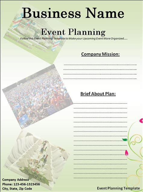 event planning template  printable ms word format