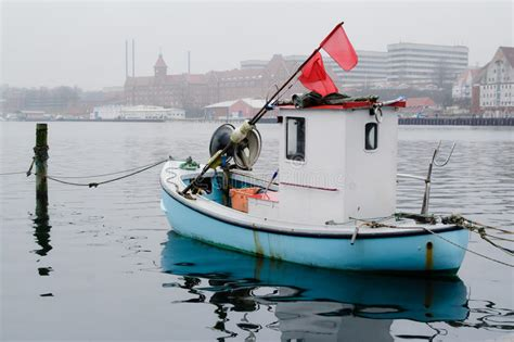 Boat Harbour Denmark Fishing by Tiny Fishing Boat Sonderborg Denmark Editorial