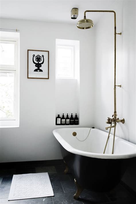 Black and White Bathroom with Shower