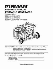 Owner U2019s Manual Portable Generator  Premium Series  Eco4000  Eco4000re Eco7000  Eco7000re Eco8000