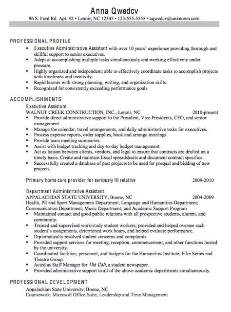 chronological resume sle executive administrative