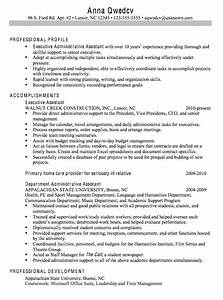 chronological resume sample executive administrative With executive assistant resume examples