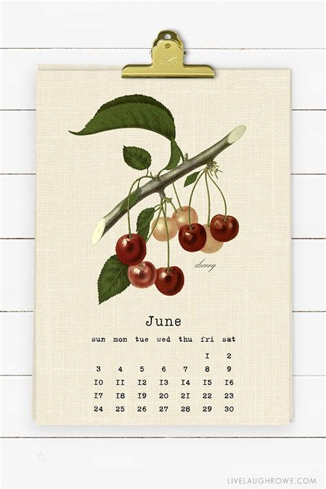 vintage botanical fruit printable calendar