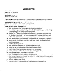 Welding Description Resume by Machine Operator Description Machine Operator Duties