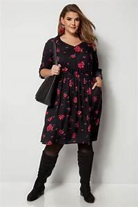 I Watch Kaufen : schwarzes rotes kleid mit blumenprint gro e gr en 44 64 ~ Eleganceandgraceweddings.com Haus und Dekorationen