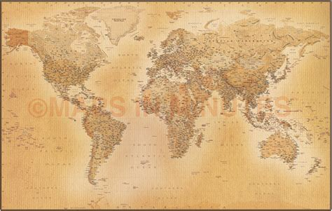 Tan Antique Style Political Relief World Wall Map Vinyl 60