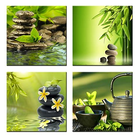 framed zen green leaf nature peaceful canvas prints picture wall home decor ebay