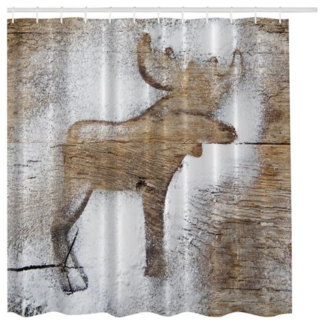 rustic winter moose fabric shower