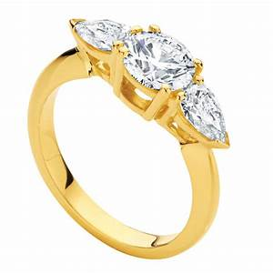 Pear three stone engagement ring yellow gold phoenix for Wedding rings phoenix az