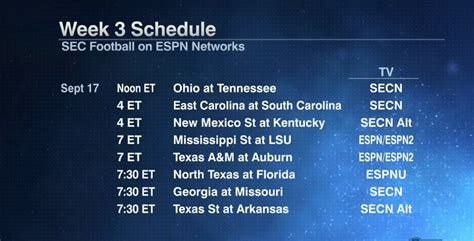 SEC releases kickoff times, TV schedule for season's first ...
