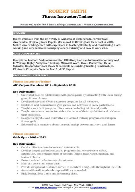 Fitness Instructor Resume by Fitness Instructor Resume Sles Qwikresume