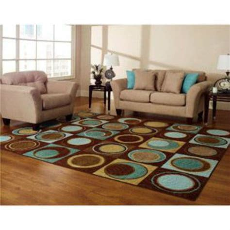 Area Rugs For Narrow Living Room by New Blue Turquoise Brown Aqua Geometric Area Rug Circles