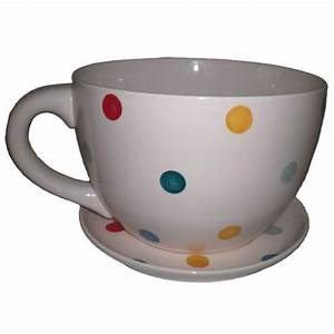 Giant Cream with Multi Coloured Spots Tea Cup and Saucer ...