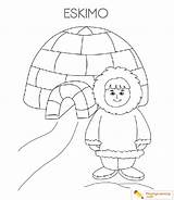 Coloring Igloo Eskimo Pages Sheet sketch template