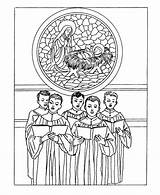 Coloring Pages Christmas Printable Traditional Adults Classic Printables Bible Choir Church Boys Stained Glass Singing Kerstmis Teens Adult Traditioneel Kleurplaten sketch template
