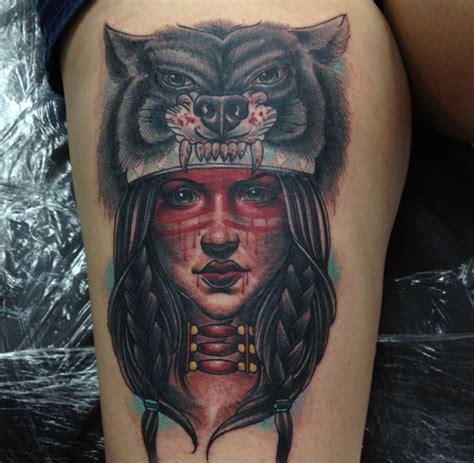 tatouage indien tete de loup