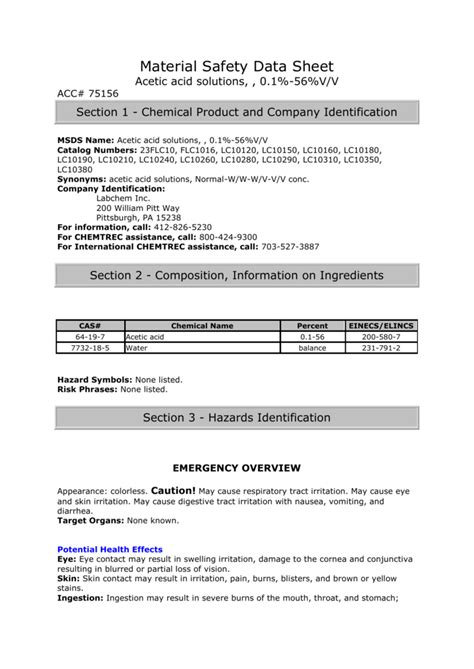 Material Safety Data Sheet Acetic acid solutions, , 0.1%