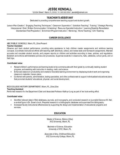 resume teaching assistant experience resume template for teachers aide